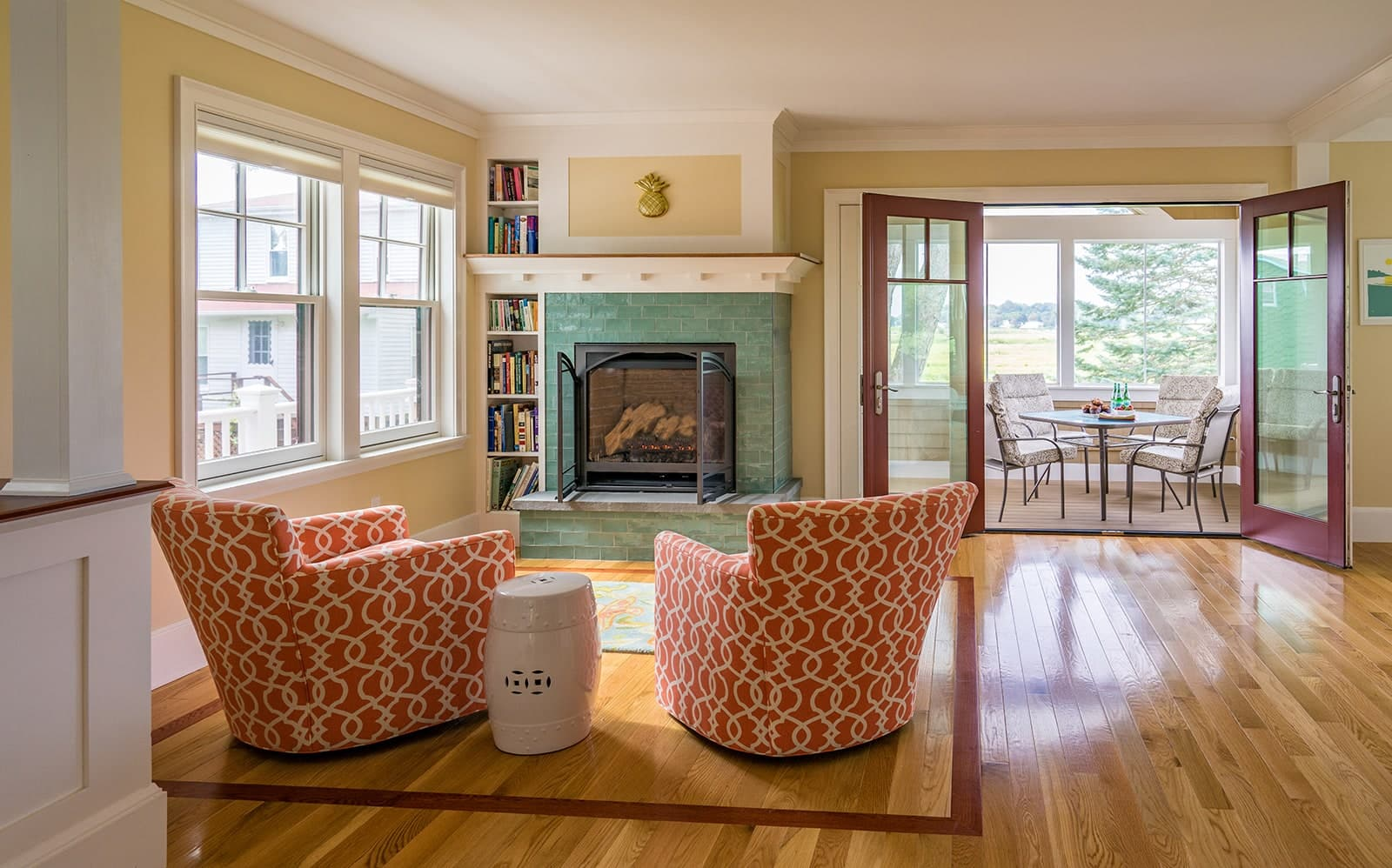Gloucester MA Beach Cottage Fireplace Seating