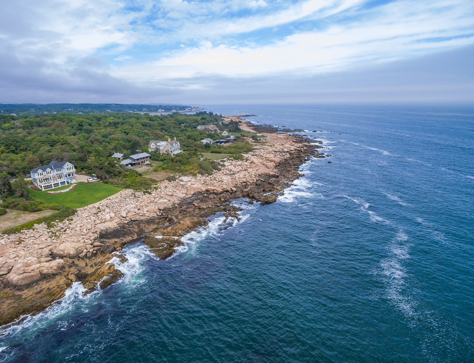 Oceanfront Shingle Style Gloucester MA Aerial View