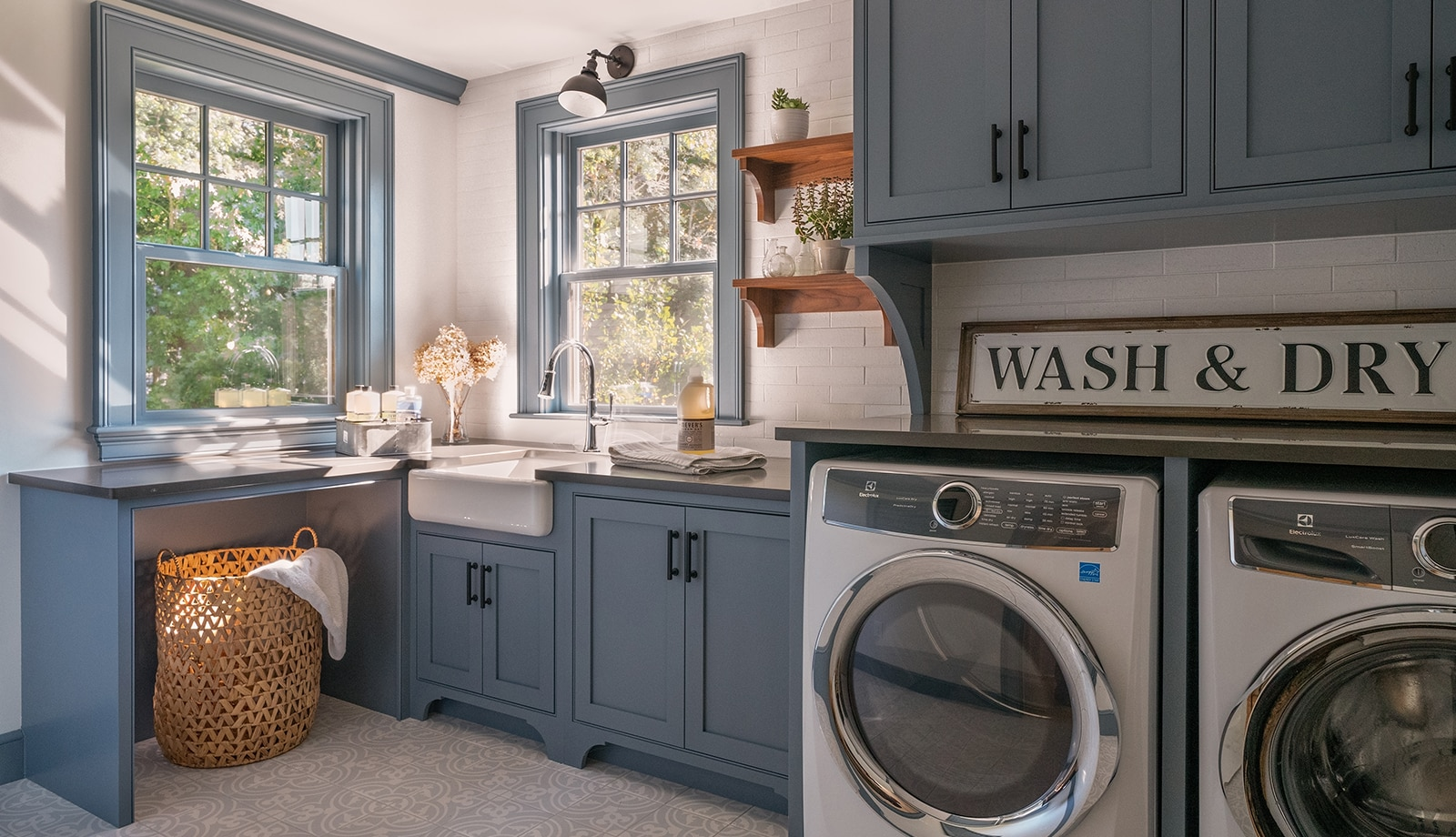 Farmhouse Flair Interiors Ipswich MA Laundry Room featured