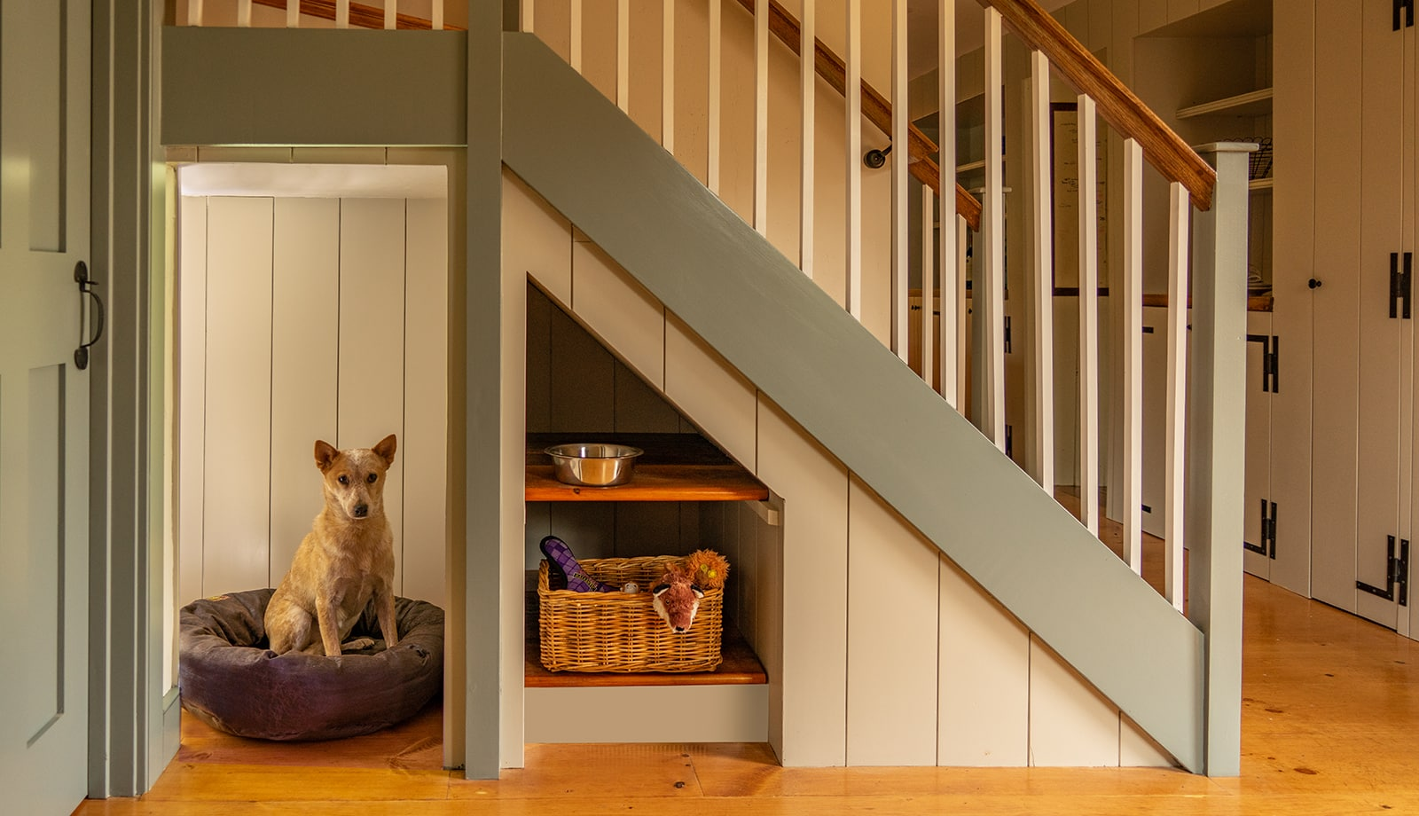 John Kimball Jr House Interiors Ipswich MA Stairs Dog featured