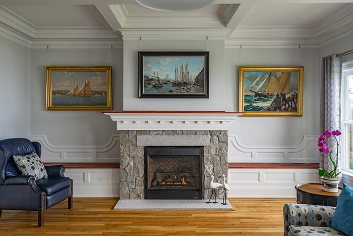 Oceanfront Shingle Style Gloucester MA Fireplace featured