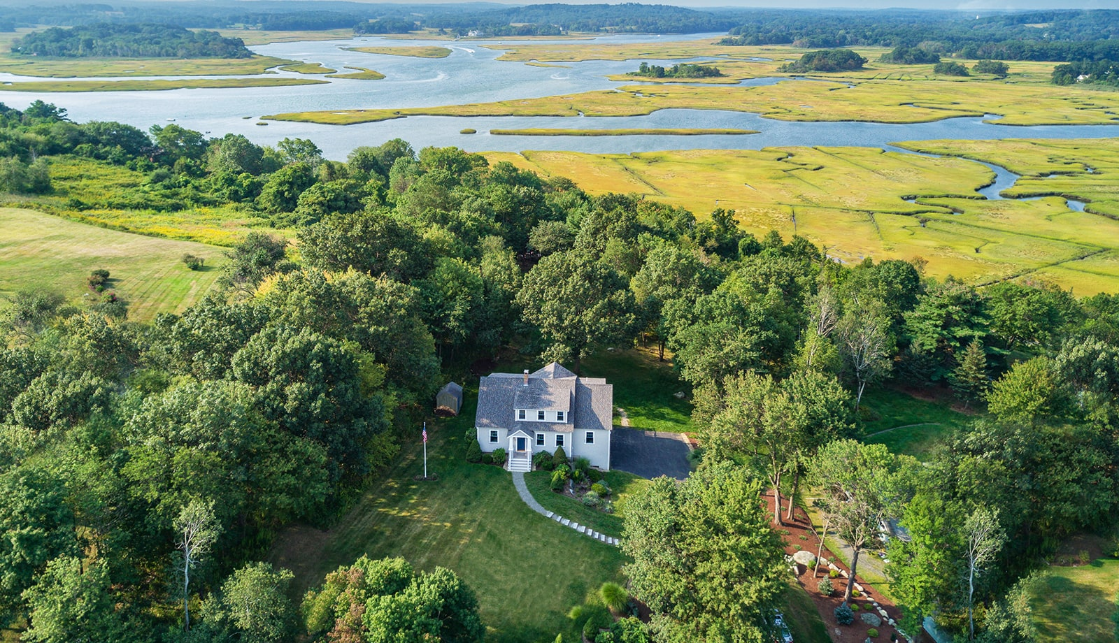 Shingle Cape On Marsh Ipswich MA Aerial